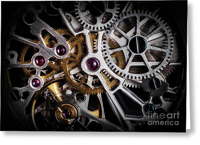 Mechanism, Clockwork Of A Watch With Jewels, Close-up. Vintage Luxury Greeting Card
