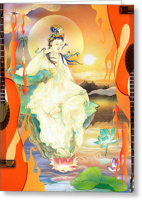 Medicine-giving Kuan Yin Greeting Card by Lanjee Chee