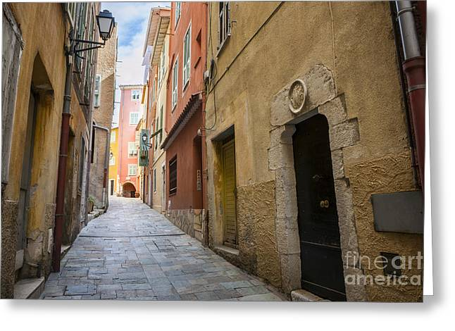 Medieval Street In Villefranche-sur-mer Greeting Card