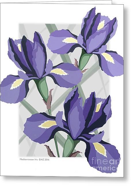 Mediterranean Iris Greeting Card by David Azzarello
