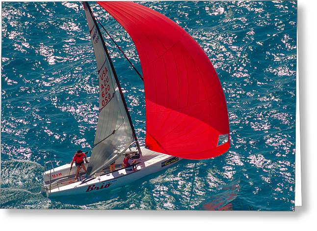 Melges 24 Aerial Greeting Card by Steven Lapkin