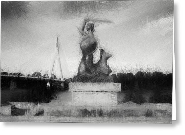 Mermaid Statue Greeting Card by Artur Bogacki