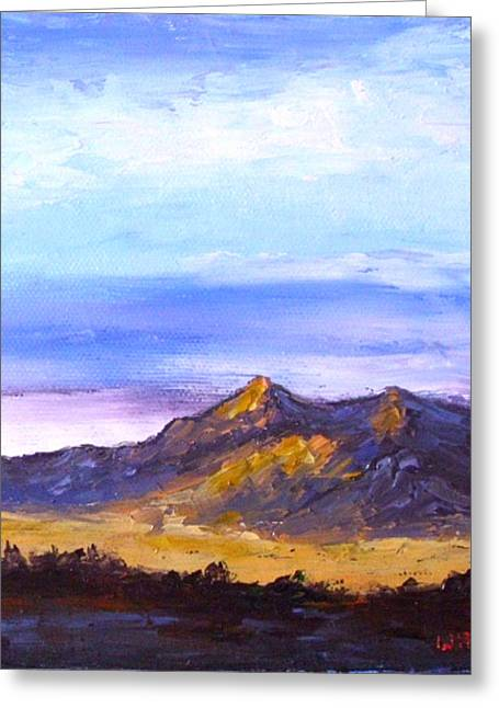 Greeting Card featuring the painting Mesa Sunset by Fred Wilson