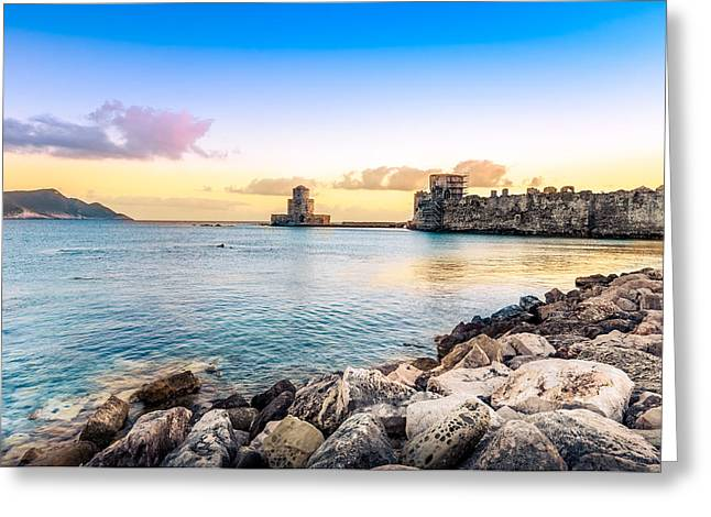 Methoni's Castle / Greece. Greeting Card by Stavros Argyropoulos