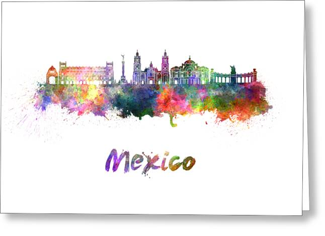 Mexico City Skyline In Watercolor Greeting Card by Pablo Romero