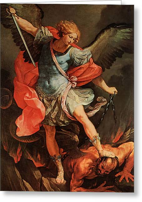 Michael Defeats Satan Greeting Card