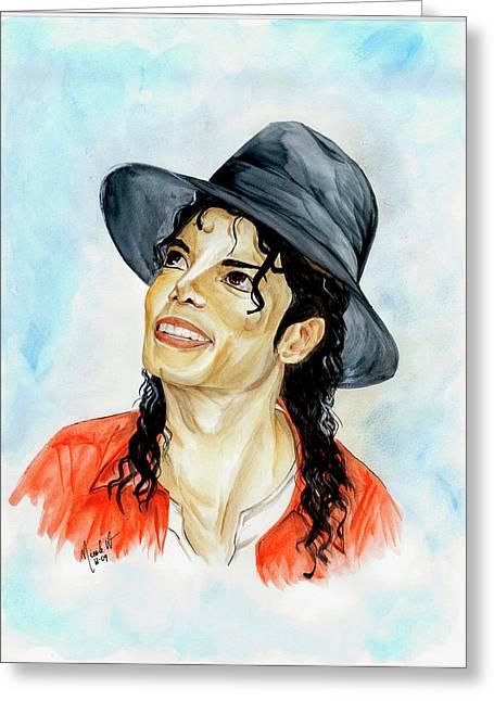 Michael Jackson - Keep The Faith Greeting Card by Nicole Wang