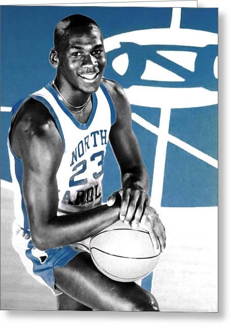 Michael Jordan In The Beginning Greeting Card