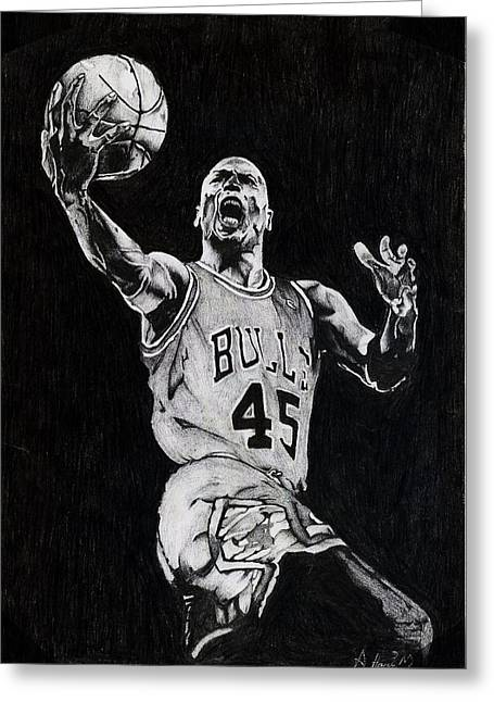 Basket Ball Game Greeting Cards - Michael Jordan Greeting Card by Hari Mohan