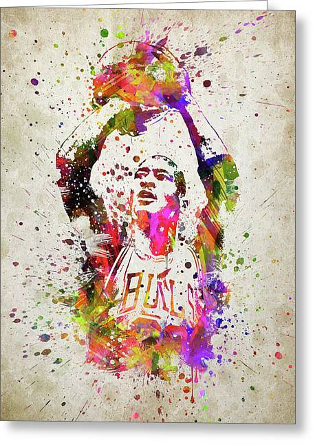 Michael Jordan In Color Greeting Card by Aged Pixel