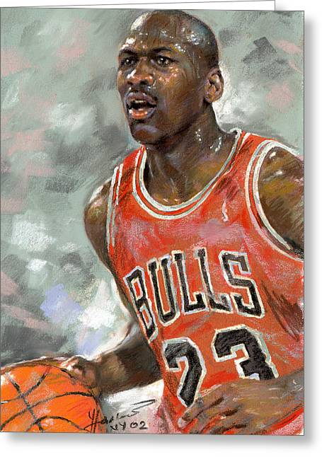 Basketball Pastels Greeting Cards - Michael Jordan Greeting Card by Ylli Haruni