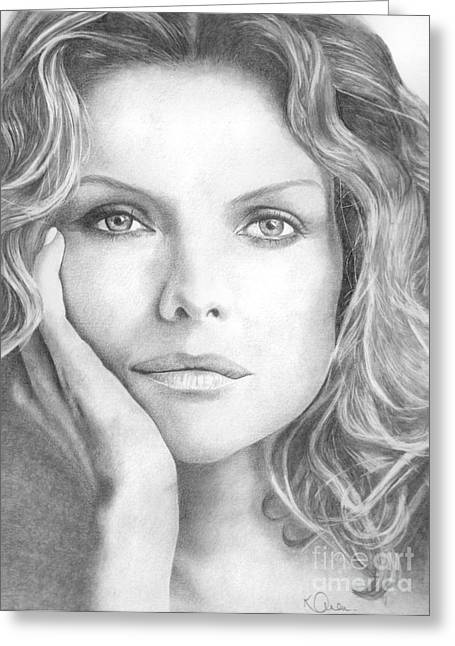 Michelle Drawings Greeting Cards - Michelle Pfeiffer Greeting Card by Karen  Townsend