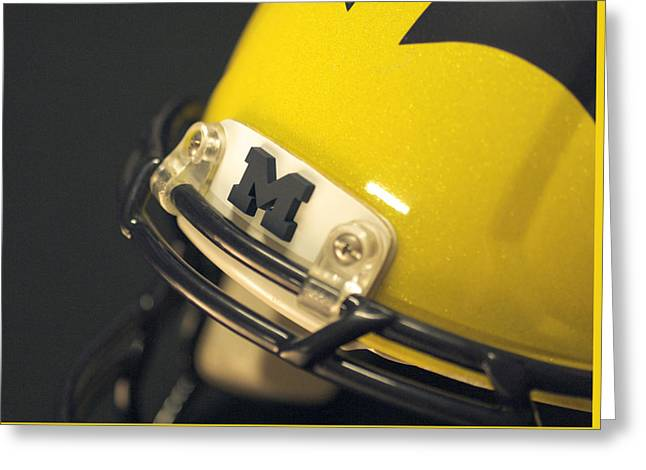 Greeting Card featuring the photograph Michigan M by Michigan Helmet