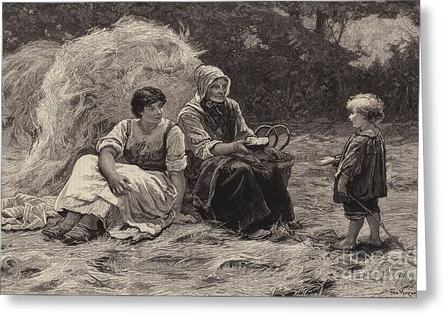 Midday Rest Greeting Card by Frederick Morgan