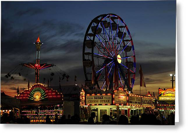 Midway Night Greeting Card by David Lee Thompson