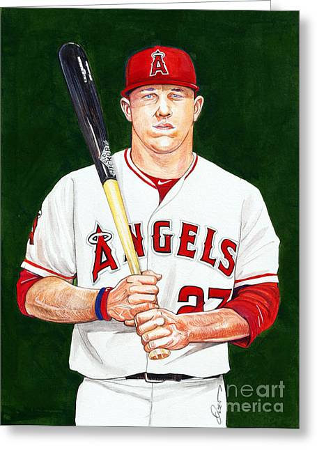 Mike Trout Greeting Card by Dave Olsen