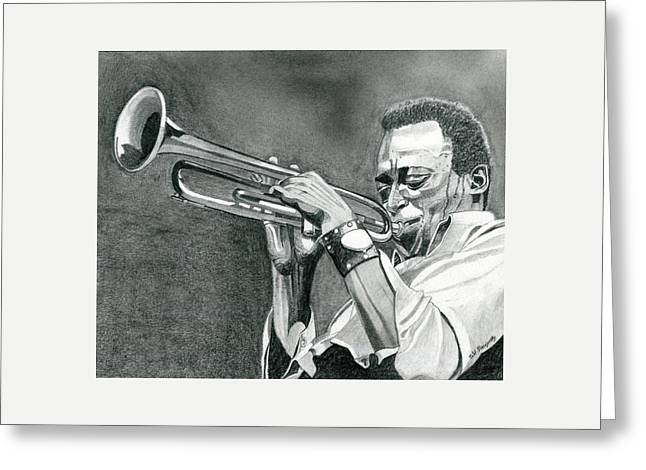 Miles Davis Greeting Card by Jeff Blazejovsky