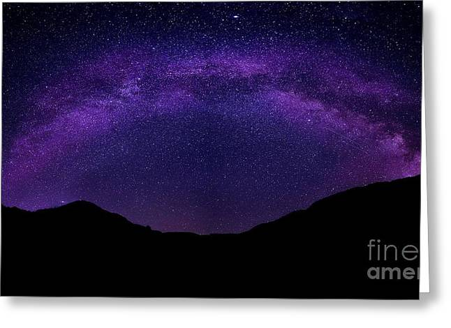 Greeting Card featuring the photograph milky way above the Alps by Hannes Cmarits