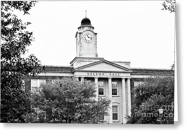 Mississippi College - Nelson Hall Closeup Bw Greeting Card