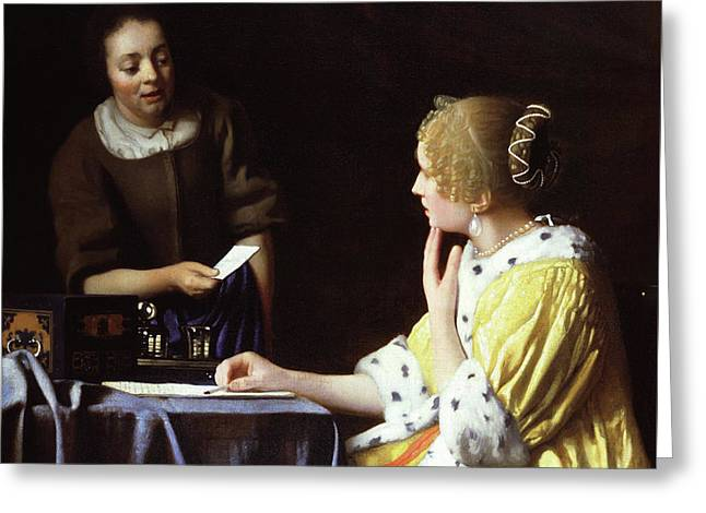 Mistress And Maid Greeting Card by Jan Vermeer