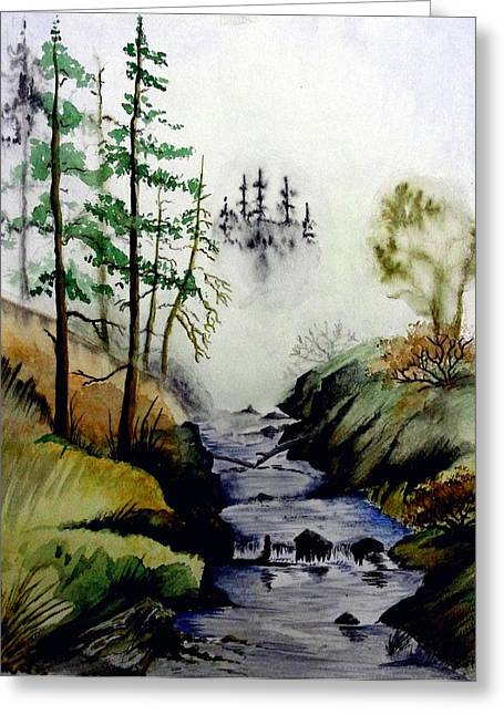 Misty Creek Greeting Card by Jimmy Smith