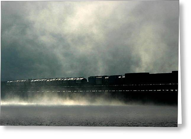 Misty Crossing Greeting Card by Marie-Dominique Verdier