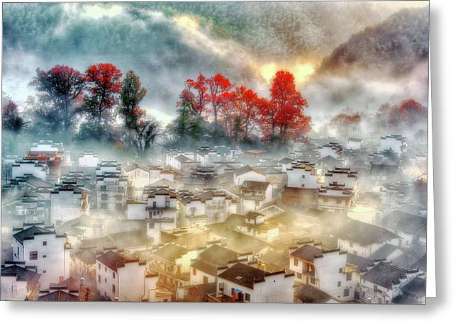 Misty Morning Greeting Card by Midori Chan