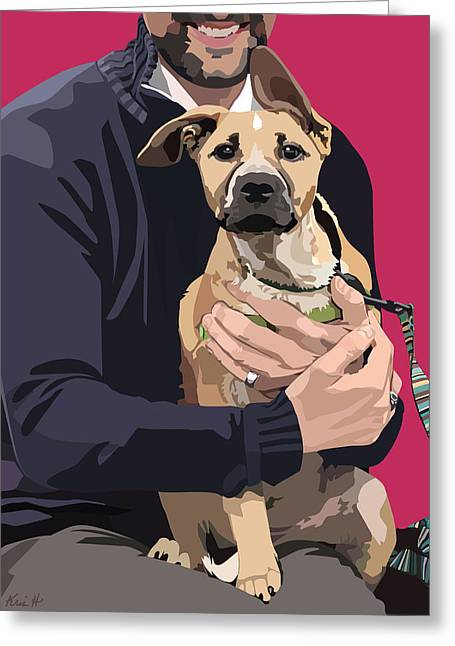 Puppy Digital Greeting Cards - Mixed-Breed Puppy Greeting Card by Kris Hackleman