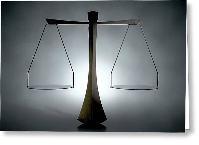 Modern Scales Of Justice Greeting Card by Allan Swart
