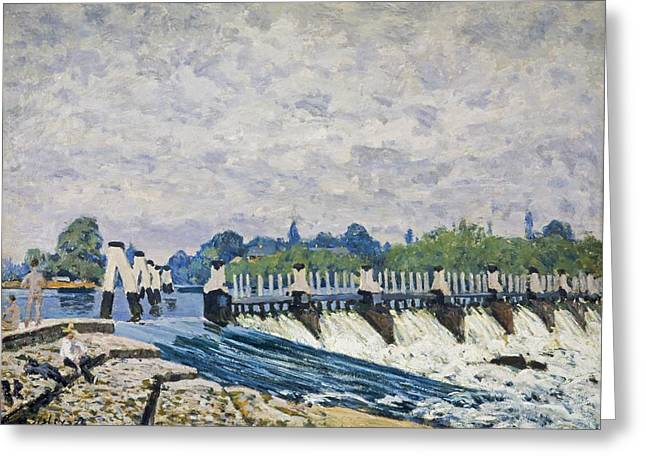 Molesey Weir-hampton Court Greeting Card by Alfred Sisley
