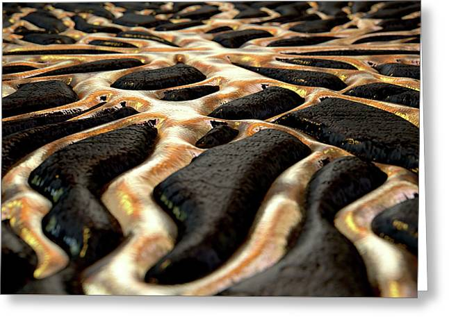Molten Gold Seeping Out Of Rock Greeting Card
