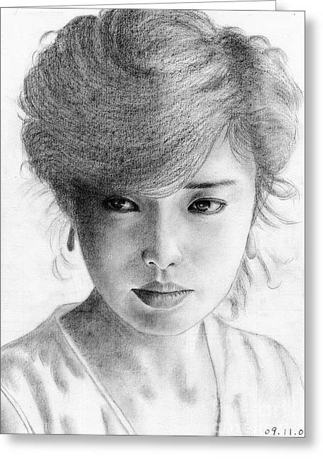 Greeting Card featuring the drawing Momoe Yamaguchi by Eliza Lo