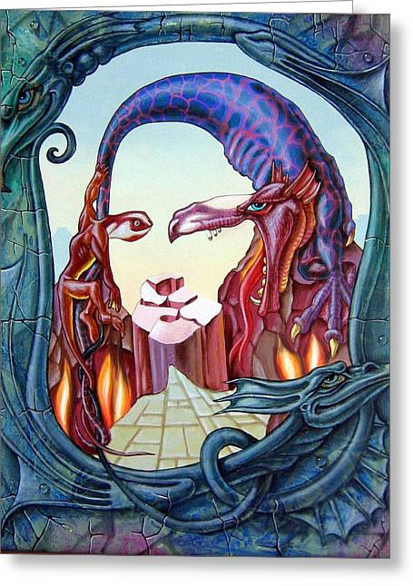 Mona Lisa. Fire Greeting Card