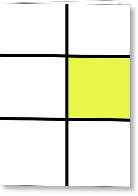 Mondrian Style Minimalist Pattern In Yellow Greeting Card