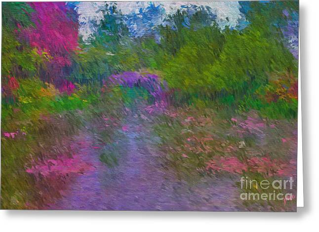 Greeting Card featuring the mixed media Monet's Lily Pond by Jim  Hatch