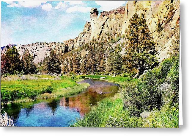 Greeting Card featuring the digital art Monkey Face Rock - Smith Rock National Park by Joseph Hendrix