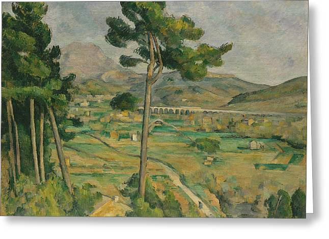 Mont Sainte-victoire And The Viaduct Of The Arc River Valley Greeting Card by Paul Cezanne