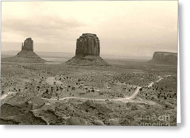 Greeting Card featuring the photograph Monument Valley Panorama At Dusk by Merton Allen