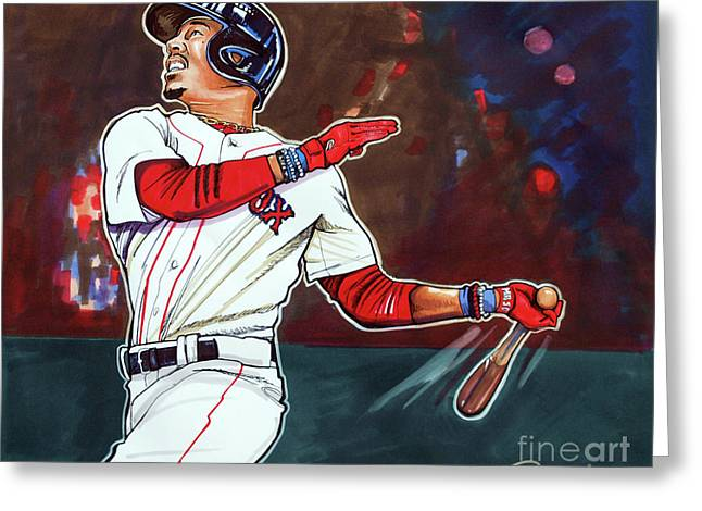 Mookie Betts Greeting Card by Dave Olsen