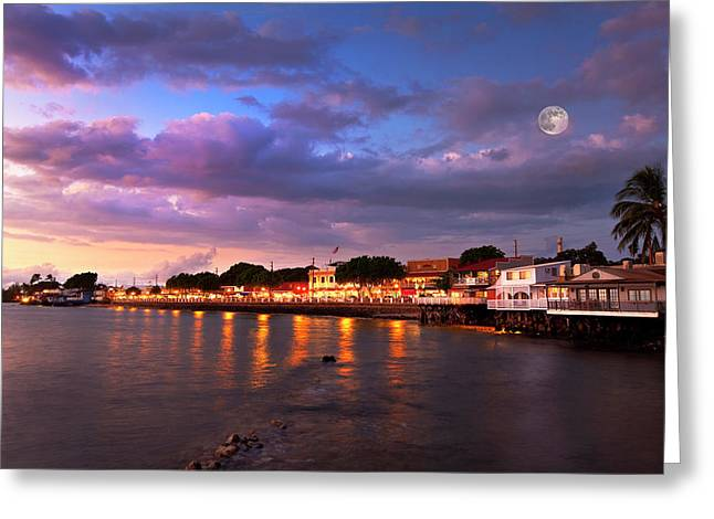 Moon Over Maui Greeting Card by James Roemmling