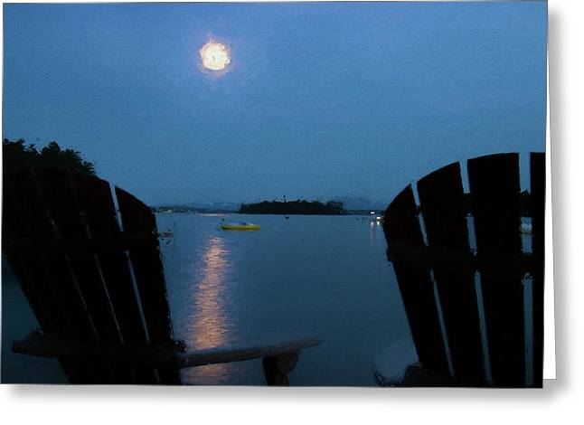 Moon Over Winnipesaukee Greeting Card by Jeff Folger