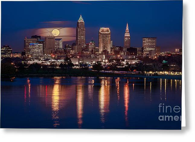 Moon Rising Over Cleveland  Greeting Card by Frank Cramer