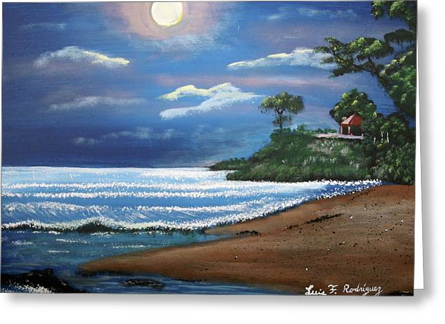 Moonlight In Rincon II Greeting Card by Luis F Rodriguez