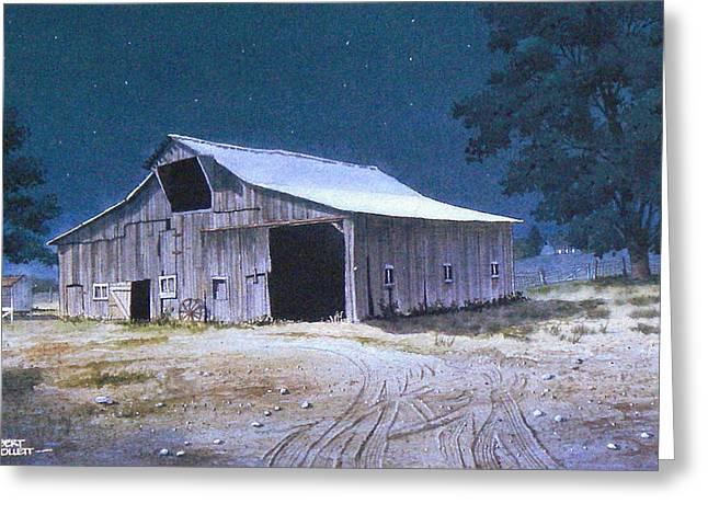 Moonlit Barn Greeting Card