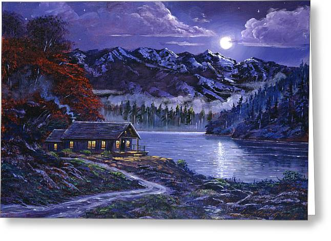 Moonlit Greeting Cards - Moonlit Cabin Greeting Card by David Lloyd Glover
