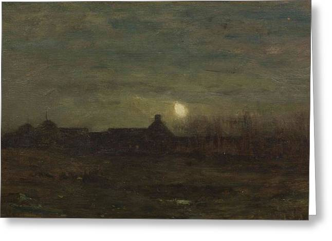 Moonlit Night Greeting Card by William Tryon
