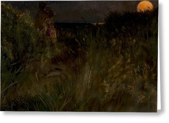 Moonrise Over The Dunes Greeting Card