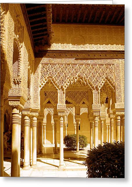 Moorish Architecture In The Nasrid Palaces At The Alhambra Granada Greeting Card by Mal Bray