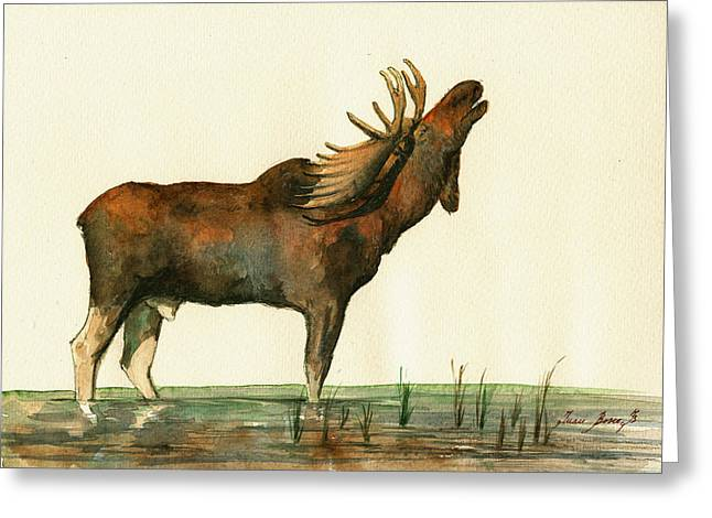 Moose Watercolor Painting. Greeting Card