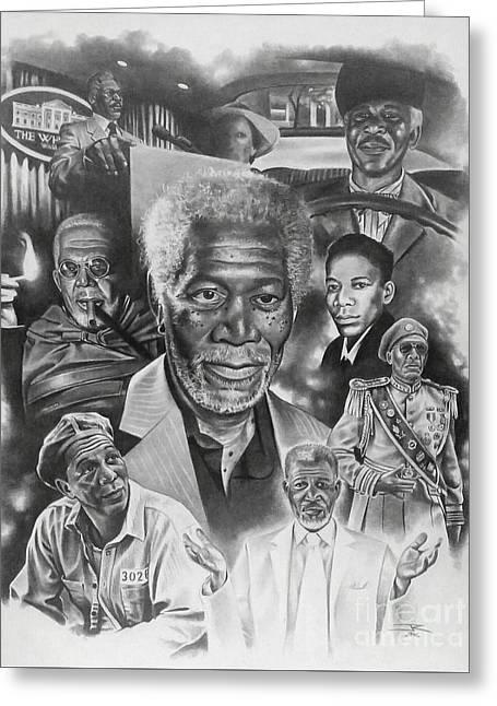 Morgan Freeman Greeting Card by James Rodgers